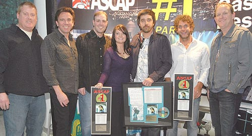 (L-R): ASCAP's Mike Sistad, Crosstown Songs Dan Huff, Darrell Franklin, Megan Galbraith, Jonathan Singleton, Billy Currington, and Jim Beavers.