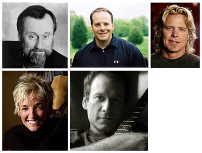 (Clockwise from top left) Ray Stevens, Kelley Lovelace, Jeffrey Steele, Clay Mills, Kye Fleming
