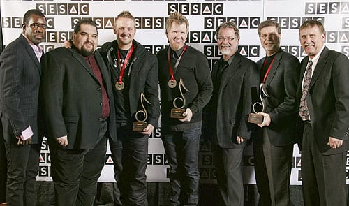 Pictured (L-R): Trevor Gale (SESAC, Vice President, Writer/Publisher Relations),  Tim Fink (SESAC Associate Vice President, Writer/Publisher Relations), Jason Ingram, David Steunebrink (Grange Hill Music, President), Dennis Lord (SESAC, Executive Vice President),  Kevin Lamb (peermusic Ltd., Vice President, Nashville) and John Mullins (SESAC, Associate Director, Writer/Publisher Relations). Photo: Ed Rode
