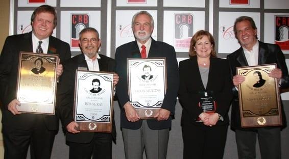 (L-R): Hall of Fame Inductees Chuck Collier (DJ), Bob McKay (Radio), Moon Mullins (Radio), Shelia Shipley Biddy (Presidents Award) and Gerry House (DJ). Photo: Bev Moser