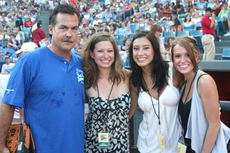 (L-R): Tennessee Titan's head coach Jeff Fisher and Carter's Chord's Becky, Emily and Joanna Robertson