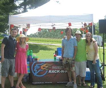 The Rack-N-Roll team on the 10th hole at the 2009 Audio Masters Golf Tournament, serving margaritas and an audio blast from the 80s. Pictured (L-R): Tom Burns, Ashley Dennis, Ian Wolczyk, Rob Dennis and Holly Keim