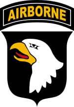 "101st Airborne Division shoulder sleeve insignia (the ""Screaming Eagle"")."