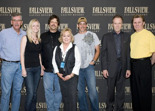 Songwriters Lisa McCallum, Steve Diamond, Kelley Lovelace and J. D. Souther traveled to Fallsview Casino Resort in Niagara Falls, Canada to perform in-the-round at an invitation-only event for the Casino's top customers. Pictured are ASCAP's Herky Williams, writers Lisa McCullum, Steve Diamond, ASCAP's Pat Rolfe; Kelley Lovelace, J. D. Souther, and Fallsview VP of Marketing and Entertainment, Larry Gregson.