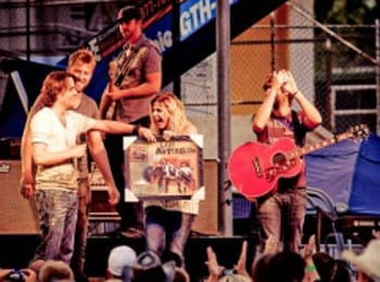 "Matt Lopez of Due West Presented With A Gold Record From Lady Antebellum   Nashville, TN (July 27, 2009) - Matt Lopez of the new country trio Due West was recently presented with a Gold record by Lady Antebellum while on tour. Due West opened for Lady Antebellum in St. George, Utah and Lopez got a change to perform his song ""Love's Lookin' Good On You"" currently on Lady Antebellum's recently named Gold record."