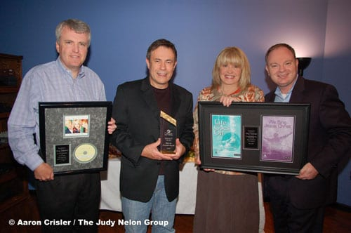 Photo Attached: (left to right) Ed Leonard (President of Daywind Records), Marty Funderburk, Dottie Leonard Miller (Daywind Music Group Founder and Owner), and Rick Shelton (Director of Daywind Music Publishing)