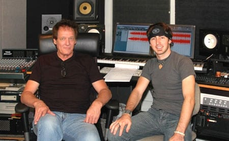 Australia's 2009 Telstra Road to Tamworth winner, Peter McWhirter, has finished recording his debut album in Nashville with veteran producer and fellow Aussie Mark Moffatt. The first single is slated for release in Australia in August. Pictured: Moffat (L) with McWhirter (R)  Photo: Kenny Mims