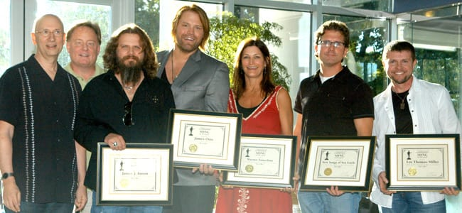 (L-R): MR Publisher David M. Ross with Song of the Year writers and publishers EMI Blackwood's Gary Overton, Jamey Johnson, Warner-Tamerlane's Tracy Gershon, New Songs of Sea Gayle's Chris DuBois and Lee Thomas Miller. Photo: Alan Mayor