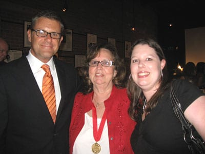 Source honoree Peggy Lamb (center), is pictured with HFA's Ed Hunt and Danielle Boone.