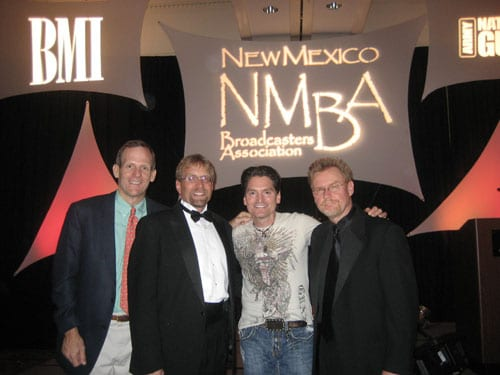 Following George's performance are (l to r): BMI's Dan Spears, NMBA Chairman and VP/GM of Pecos Valley Broadcasting Gene Dow, Ducas, Citadel Communications-Albuquerque VP/GM and NMBA Chairman Elect Milt McConnell.