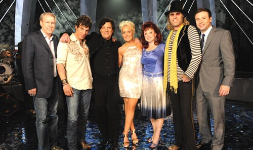 Photo attached features: John Hamlin - Senior Vice President, Production and Development, CMT; Joshua Scott Jones of Steel Magnolia; Scott Borchetta - CAN YOU DUET judge and Big Machine Records' President; Meghan Linsey of Steel Magnolia; Naomi Judd - CAN YOU DUET judge; Big Kenny - CAN YOU DUET judge; and Lance Smith, CAN YOU DUET host   Photo credit: John Russell