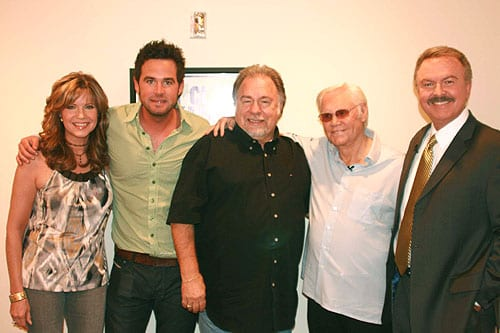 "(L to R) ""Crook & Chase's"" Lorianne Crook, David Nail, Gene Watson, George Jones and ""Crook & Chase's"" Charlie Chase CREDIT: Sandra Petrucci/Copyright Jim Owens Entertainment"