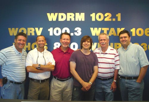 "Brady Seals' southeast radio promo tour kicked off in Huntsville at WDRM where he debuted his new single ""Ho Down"" on the Dan & Dingo morning show.  WDRM air staff shown here from left to right: A.J. McCloud, Dingo, Dan McClain, Brady Seals, Jim Tice, Stuart Langston."
