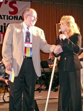 """Barbara Mandrell with Steel Guitar Hall of Fame founder DeWitt Scott (""""Scotty"""") accepting her Hall of Fame honor on Saturday, September 5, 2009. Photo by: Donna Stroup"""