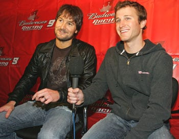 Capitol Records Nashville recording artist Eric Church joined NASCAR driver Kasey Kahne on Wednesday night for the Budweiser One Night Stand event at Coyote Joe's in Charlotte, NC.   Pictured from L to R: Eric Church & Kasey Kahne   Photo Credit: HHP Images