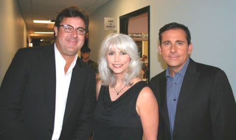 From left: Vince Gill, Emmylou Harris and The Office's Steve Carell backstage at The Jay Leno Show (September 30, 2009). All three appeared on last night's show. Both Gill and Harris are in Los Angeles to perform at a benefit for The Country Music Hall of Fame at Club Nokia.Photo credit: Rique