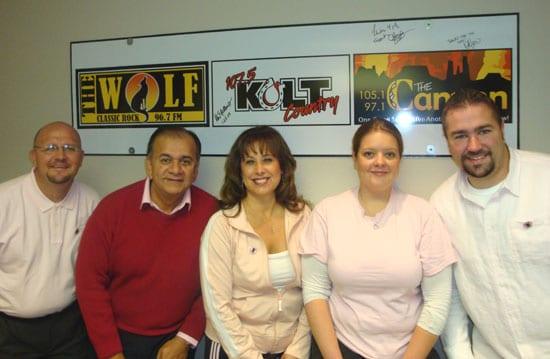 Grenax Broadcasting staff dress in pink.