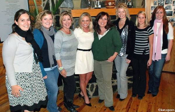 Jo Dee Messina spoke at the recent meeting of the Women's Music Business Association (WMBA). About 125 guests turned out at the NSAI studio to hear Messina and learn about the organization's open enrollment. WMBA will be accepting applications until Jan 19, 2010. Pictured WMBA Officers & Chairs (L-R) Stephanie Mundy-Self, Kasey Cleckler, Holly Ashby, Brandi Simms, Jo Dee Messina, Penny Dionne, Lindsay Puddy, and Kama Upton. Photo by Kat Speer