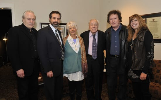 Pictured (L-R): Gary Scruggs, VP of Museum Programs Jay Orr, Martin, Earl Scruggs, Randy Scruggs and Gibson Foundation Executive Director Nina Miller. Photo: Donn Jones
