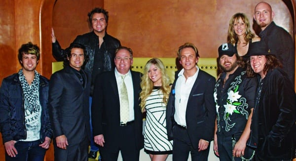 Universal Records South celebrated Country Music's Biggest Night with newcomer Baylie Brown, Eli Young Band, two-time nominee Randy Houser and former CMA winner, Joe Nichols.     Front Row L to R: Chris Thompson (EYB), Joe Nichols, Mark Wright USouth's President, Baylie Brown, Fletcher Foster USouth's Sr VP/GM, Randy Houser, James Young (EYB)  Back Row L to R: Mike Eli (EYB), Teddi Bonadies USouth's VP Promotion, Jon Jones (EYB)