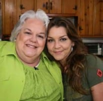 Pictured: Hazel Smith (l.) and Gretchen Wilson (r.) during the taping of CMT's Southern Fried Flicks with Hazel Smith. Credit: Jimmy Corn