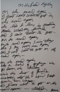 """Nelson's lyrics to """"On The Road Again"""""""