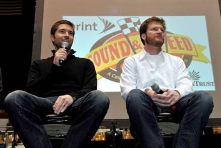 Josh Turner (L) and Dale Earnhardt Jr. taking questions from the crowd
