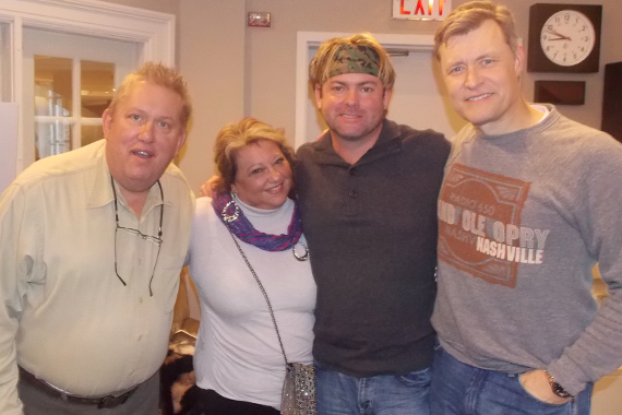 "Andy Griggs recently visited with WSM and Bill Cody about his new song, ""Twenty Little Angels,"" written for, and benefiting those involved in the Newtown tragedy. The track takes our highest debut this week at No. 62. Pictured (L-R): Al Brock (Spin Doctors Music Group President), Cathy Nakos (Andy's manager), Andy Griggs, and Bill Cody (WSM)"