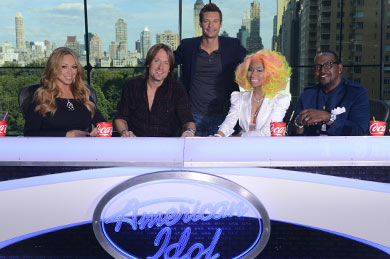 American Idol Season 12. Pictured (L-R): Mariah Carey, Keith Urban, Ryan Seacrest, Nicki Minaj, and Randy Jackson
