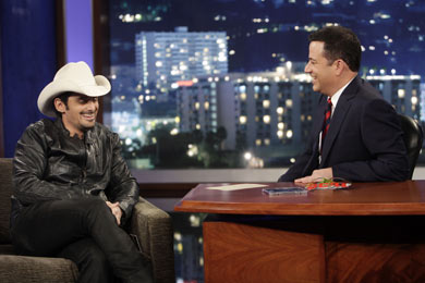Brad Paisley with Jimmy Kimmel. Photo: ABC/Randy Holmes