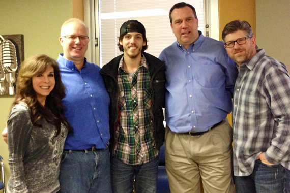 "Chris Janson recently passed through Grand Rapids, MI, to visit with WBCT in promotion of his January 22 single release, titled ""Better I Don't."" The lead single, preceeds his forthcoming debut album produced by Keith Stegall. Pictured (L-R): Bigger Picture Group's Chris DeCarlo, WBCT's PD Dave Taft, Chris Janson, WBCT's OMDoug Montgomery, Bigger Picture Group's Michael Powers"