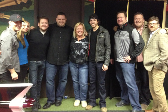 "Bigger Picture Group newcomer, Chris Janson, visited Nashville's WSIX radio station in promotion of his single, ""Better I Don't."" Pictured (L-R):  BPG's Jay Bradley, Kim Trosdahl, Allen Mitchell, Michael Bryan (WSIX PD), Robin Rhodes (After MidNite), Chris Janson, Matt Corbin (BPG), EJ Bernas, Michael Powers"