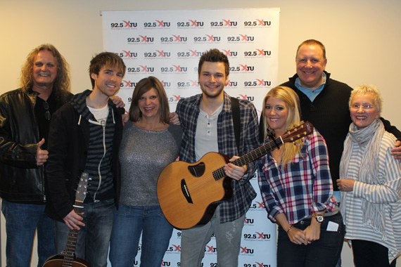 "Show Dog-Universal Music's Joel Crouse recently stopped by WXTU to share his debut single, ""If You Want Some,"" which is our highest debut this week at No. 61 on our chart. Pictured (L-R): Rick Moxley (SDU), Kyle Rife (guitar player), Shelly Easton (PD WXTU), Crouse, Macy Morgenthaler (SDU), Mark Razz (WXTU MD), Natalie Conner (WXTU VP & GM)"