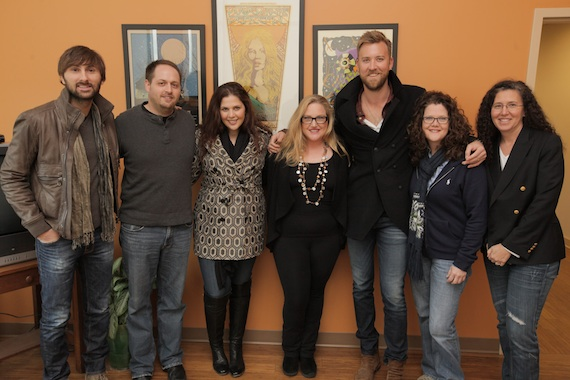 Pictured (L to R): Dave Haywood, Kobalt's Director of Creative Jeff Skaggs, Hillary Scott, Kobalt SVP Creative Whitney Daane, Charles Kelley, Kobalt VP of Creative Stephanie Cox, and Lady Antebellum attorney Linda Edell Howard of Adams & Reese.