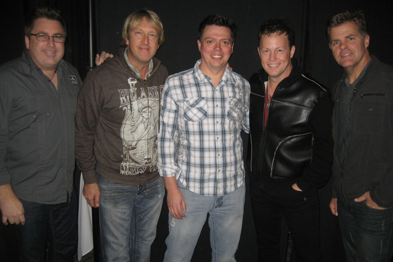 "Lonestar met up with KSON/San Diego PD Kevin Callahan at show to benefit St. Jude, recently. A 2013 album release is expected following the reunited band's current single, ""Maybe Someday,"" which lands On Deck this week. Pictured (L-R): Chris DeCarlo (Bigger Picture Group), Dave Taft (WBCT PD), Chris Janson, Doug Montgomery (WBCT OM), Michael Powers (Bigger Picture Group)"
