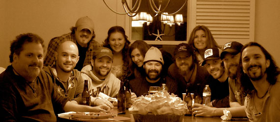 Pictured (L-R): Bob DiPiero, Alex Heddle (Creative Dir. Love Monkey Music/Tom-Leis Music), Denny Carr (Dir.of A&R Roots Three Music), Matt Turner (Creative Mgr. OLE'), Emily Peacock (Office Mgr. Love Monkey Music/Tom-Leis), Micol Davis, Arthur Buenahora (General Mgr of OLE'), Ricky Davis, Leslie T. DiPiero (Partner of Tom-Leis), Matt Nolen, Brandon Kinney, Jeff Coplan.Center:Modica Market's Famous Banana Pudding. (Not pictured Ryan Tyndell)