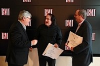 Pictured (L-R): BMI's Phil Graham, Charlie Feldman and Tommy James.