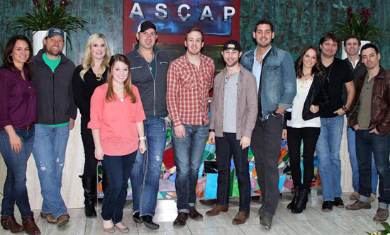 L–R:  ASCAP's LeAnn Phelan, Jonathan Kingham, Brittany Aultman, Sarah Allison Turner, Keith Walker, Austin Smith,Ryan Plappert, Brian Burke, Jillian Arciero, Kris Hitchcock, ASCAP's Ryan Beuschel and Chris Drizen