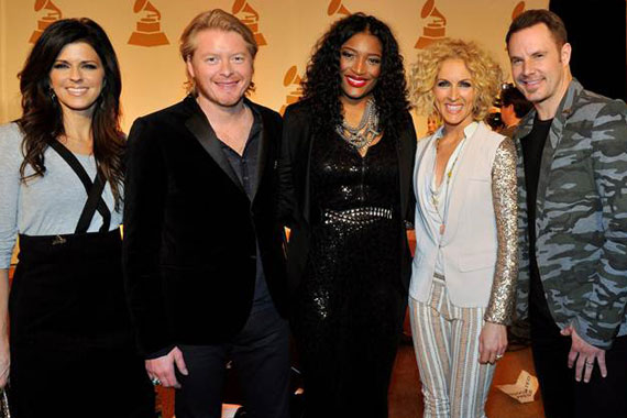 "Pictured (L-R): Karen Fairchild, Philip Sweet, Little Big Town; Tamara ""Taj"" George (SWV), Kimberly Schlapman and Jimi Westbrook of Little Big Town. Photo: The Recording Academy/Frederick Breedon/WireImage"