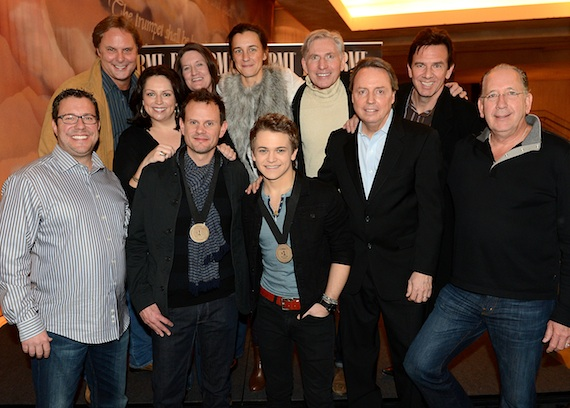 Pictured (back row, L-R): Scott Hendricks, Universal Music Group's Cyndi Forman and Whitney Williams, Martingale Entertainment's Betsy McHugh and Ansel Davis, and producer Dann Huff; (front row, L-R): Universal Music Publishing Group's Kent Earls, co-writer Troy Verges, Hunter Hayes, BMI's Jody Williams, and Warner Music Nashville's John Esposito.