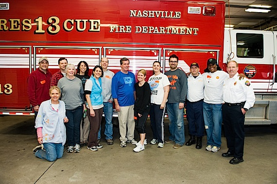 Pictured with Mayor Karl Dean (center), Leadership Music Class of 2010, are (L-R): Tinti Moffat (kneeling), Denise Stiff Sheehan, Leadership Music Executive Director Debbie Linn, Dean, Heather McBee, Cameo Carlson, Justin Levenson, Fire station #23 Captain Caruthers, Tamara Johnson-George and Nashville Assistant Fire Chief Steve Holt. Photo Credit: Andrea Hallgren
