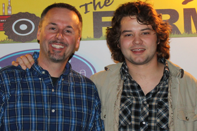 "Carnival Music's Brent Cobb recently stopped by WEIO The Farm in Huntingdon, TN to promote his single, ""Love On Me,"" which takes our No. 46 position this week. Pictured (L-R): Kelly Green (WEIO GM), Brent Cobb"