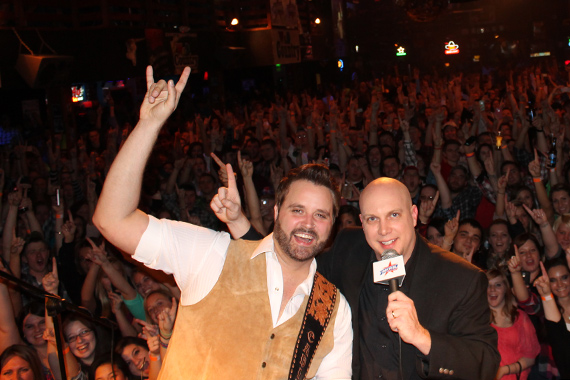 """Randy Houser recently taped a St. Louis Country show at Wild Country in Missouri. Pictured with WIL's Danny Montana, Houser's """"Runnin' Outta Moonlight"""" claims our No. 57 spot."""