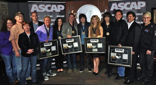 Pictured (L-R): Larga Vista Music's Stephanie Cox; Bigger Picture's Jeff Carlton; Little Blue Egg's Robin Palmer; ASCAP's Robert Filhart; Shane McAnally; Brandy Clark; Trevor Rosen; The Band Perry's Neil, Kimberly and Reid Perry; Dann Huff; BMLG's Scott Borchetta and Jimmy Harnen. Photo by Fred Breedon.