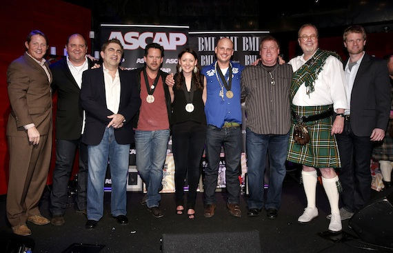 Pictured (L-R): BMI's Clay Bradley, Lytle Management's John Lytle, producer Greg Droman, Gary Allan, co-writers Hillary Lindsey and Matt Warren, ASCAP's Mike Sistad, MCA Nashville's Mike Dungan and BMG's Kos Weaver. Photo by John Russell