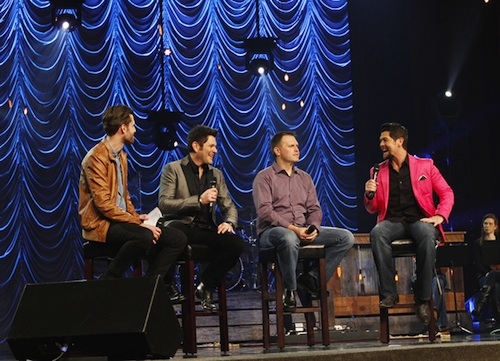 Fellow Grammy® Award Winner, Micah Massey, interviewsproducers Jay DeMarcus, Wayne Haun and Jason Crabb.Photo by Dan Harr / AdMedia