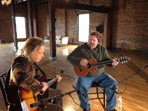 "Songwriters Odie Blackmon and Jim Lauderdale wrote a song called ""Tough All Over"" that will be featured on ""Nashville"" this month. Pictured here, they also recorded an installment of On The Record for ABC's website."