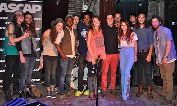 Pictured (L-R): The Weeks, Conner Youngblood, ASCAP's Evyn Mustoe, ASCAP's Jesse Willoughby, Escondido's Jessica Maros and Tyler James, Elliot Root and band