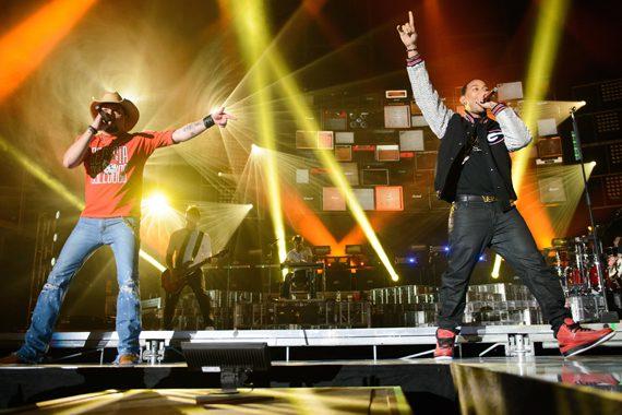 Jason Aldean and Ludacris at UGA's Sanford Stadium, Saturday, April 13. Photo: Chris & Todd Owyoung