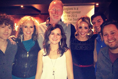 Trent Wilmon, along with Crush Management's Kristen Kelly, Ashley Monroe, Striking Matches (Justin Davis & Sarah Zimmermann) performed a round benefiting Songs For Sound at this year's Tin Pan South songwriters festival on Wednesday (4/3). Pictured (L-R): Justin Davis Kristen Kelly & Sarah Zimmermann, John Grady (Crush), Ashley Monroe, Andrew Cohen (Crush), Mark Rucker (Crush)